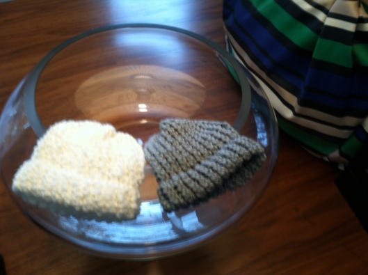 Homemade Knitted Beanies from Jessica!  We love them!!!