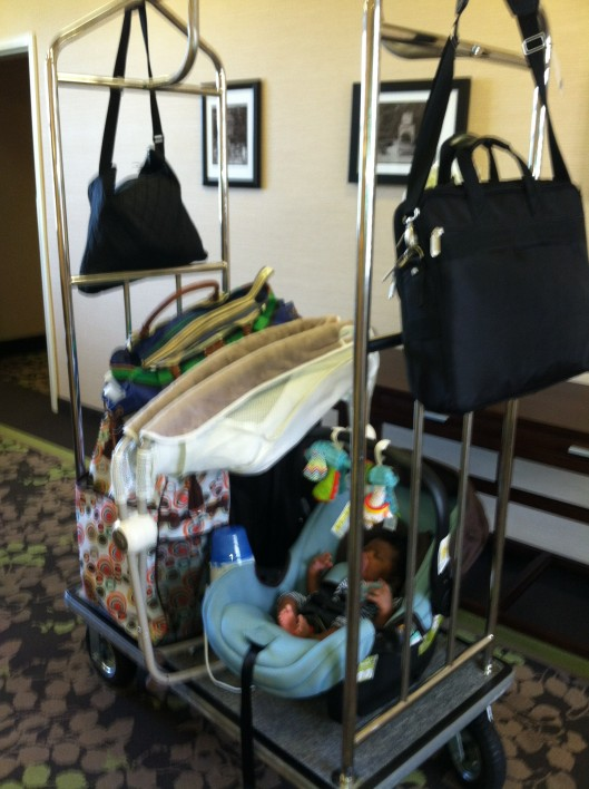First Family Trip to Charlotte; this is how I roll while Daddy is in class.....