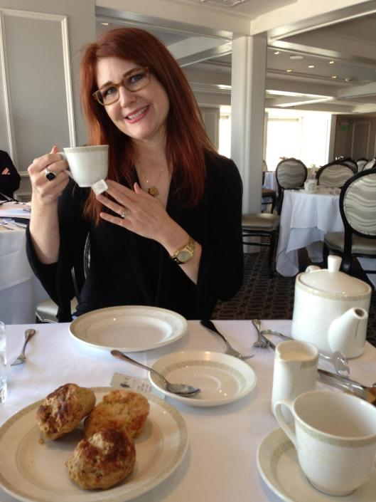 On the Queen Mary Ship in Long Beach having tea and about to see Princess Diana's dresses